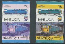 ST. LUCIA 1986 locomotives U/M se-tenant MAJOR VARIETY MISSING COLOUR
