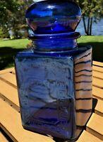 Vintage Glass Coffee Jar Canister Cobalt Blue Greek Key decoration Kitchen