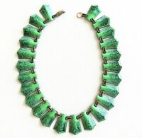 """Vintage Green Enamel Over Copper Necklace Mid Century Matisse~Rame Unsigned 14"""""""