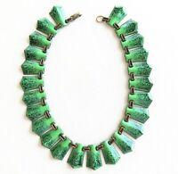 "Vtg Art Deco STERLING Enamel Necklace 14"" Speckled Dark to Light Green Rare"
