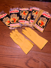 5 PAIRS YELLOW LATEX  Flock Lined Gloves LARGE Kitchen DishWashing Cleaning