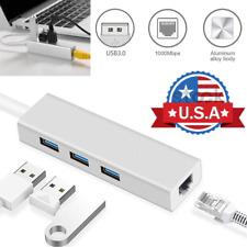 3 Ports USB 3.0 1000 Mbps Gigabit Ethernet Lan RJ45 Network Adapters Hubs Mac PC