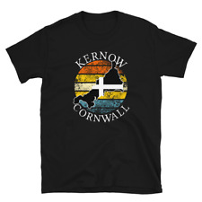 Cornwall Kernow Unisex Retro Distressed Cornish Map Black T Shirt