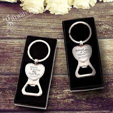 Engraved Chrome Heart Bottle Opener Keyring Wedding Favour Gift Personalised
