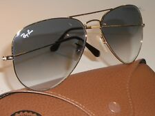 58[]14mm RAY BAN RB3025 TOP BLUEISH GRAY GRADIENT LENS GOLD AVIATOR SUNGLASSES