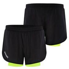 Pantalones cortos deportivos para hombres secado rápido 2en1 con forro más largo