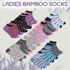 3 Pairs Ladies Bamboo Socks Trainer Liner Soft Anti Bcaterial Size 4 5 6 7 UK