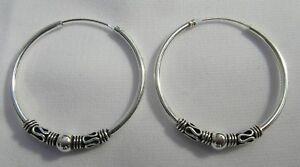 Sterling Silver 925 Bali Hoop  Earrings  (10,12,14,16,18,20,25,30,35,45 ,50 MM )