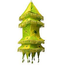 Pantalla lámpara Pagoda cuadrada verde amarillo 70cm India patchwork iluminación