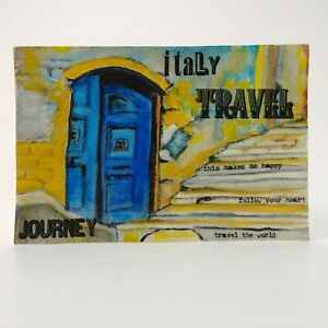 """Mixed Media Painting on Paper """"THE BLUE DOOR"""" Italy Realism  by Allison Reece"""