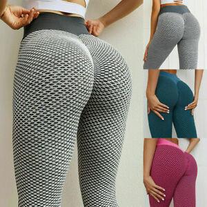 Womens Fitness Gym Seamless Yoga Pants High Waist PUSH UP Sport Scrunch Leggings