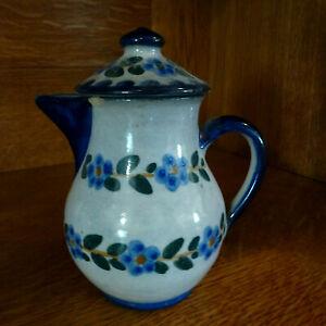 alte Bunzlau Kanne mit Deckel - bäuerliche Keramik mit schöner Patina- Milchkrug