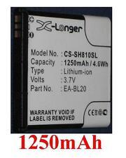 Batería 1250mAh tipo EA-BL20 Para Sharp SH80iUC, Sharp SH81iUC