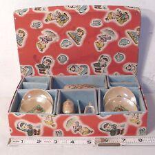 CHILD'S LUSTERWARE PORCELAIN FOUR PERSON TEA SET BOXED 1930s