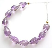 12 NATURAL BRAZILIAN AMETHYST FACETED DROP BEADS STRAIGHT DRILLED 5.5-6 mm A5