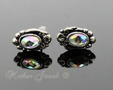 Brand New Antique Silver Plated Bright Aurora Womens Girls Cameo Earrings Studs