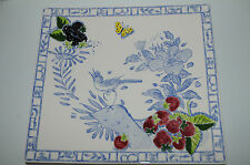 $170! NEW GIEN FRANCE OISEAU BLEU SQUARE PLATE  tray blue white platter