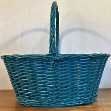 "Large 17x12x7"" OVAL Painted BLUE Cane WICKER BASKET Woven Rattan Handle Gift"