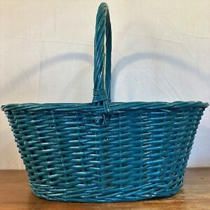 """Large 17x12x7"""" OVAL Painted BLUE Cane WICKER BASKET Woven Rattan Handle Gift"""