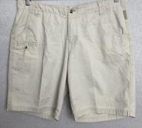Columbia Women's Outdoor Bermuda Shorts Khaki Beige Sz 14 Belted Pockets Cotton