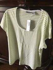 New CHICO'S LIME/WHITE STRIPED SCOOP NECK TEE Chicos Sz 3 NWT