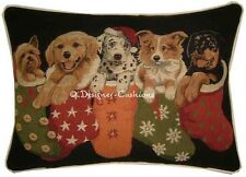 Christmas Puppies in Stockings Oblong Tapestry Cushion Pillow Cover