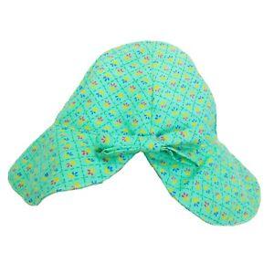 Vintage Sun Bonnet Toddler Prairie Hat Green Floral Handmade Bow Detail Garden