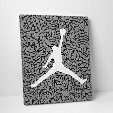 Nike Air Jordan Cement Jumpman Gallery Art Canvas 11in x14in