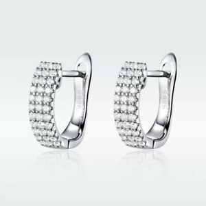 925 STERLING SILVER RHODIUM PLATED CLEAR SAPPHIRE HUGGIE EARRINGS