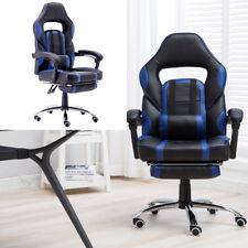 Bürostuhl Racing Drehstuhl Chefsessel Gaming Blau Sportsitz 150kg mit Fußstütze
