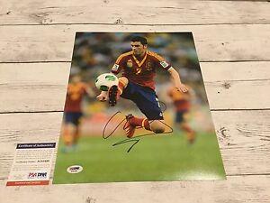 David Villa Signed Spain 11x14 Photo PSA DNA COA Barcelona FC Autographed a