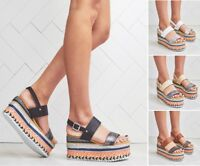 Womens Ladies Flat Wedge Espadrille Aztec Strappy Sandals Platform Summer Shoes
