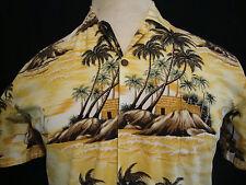 Men's Hawaiian Shirt Large S/S Island Tropical Palm Beach Hut Boat Ocean Yellow
