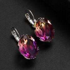 Huge Jewelry  Oval Purple Pink Bi Color Tourmaline Gems Silver Dangle Earrings