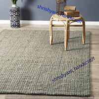 Jute Natural Rug Braided Jute Rectangle Weave Rug Area Rug Floor Carpet Handmade