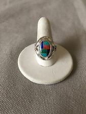 Southwestern Multi-Stone Channel Inlay Ring Size 7-1/4 Sterling Carolyn Pollack