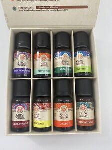 Gurunanda Essential Oils Set Of 8 Therapeutic Grade Pure .5ml Ea Open Box