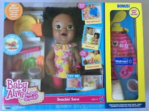 Baby Alive Super Snacks Snackin' Sara Eat Talk Poop AA African American + BONUS