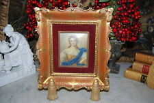 GREAT FLORENTINE ITALIAN FRAME WITH RECTANGULAR HAND PAINTED MINIATURE BY WILLS