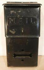 Vtg Fulton Black Wall Mount Embossed Mail Box Metal Mailbox Security Hasp Lock