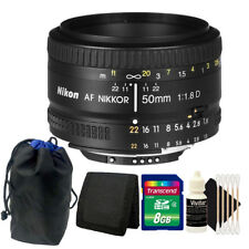Nikon AF NIKKOR 50mm f/1.8D Lens with 8GB Top Accessory Kit