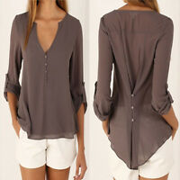 Plus Size 8-22 Women V Neck Chiffon Top Long Sleeve Loose Casual T Shirt Blouse