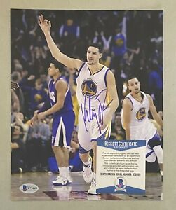 Klay Thompson Signed 8x10 Photo Autographed Beckett BAS COA Warriors