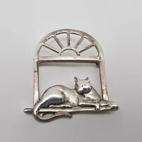 Vintage Sterling Silver Mexico Cat On Window Brooch Pin