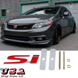 3D Metal Si Logo Sport Red Front Grille Grill Emblem Badge Decor For Honda Civic