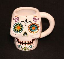Day Of The Dead Ceramic White Skull Coffee Mug Cup Halloween Decor Never Used