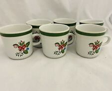 Set of 6 Coffee Cups Yamaka Stoneware Japan Holiday Tea Mugs Christmas Vintage