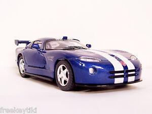 BLUE & WHITE DODGE VIPER GTS-R Vehicle Diecast  Model 1/36 Pull Back Sportscar