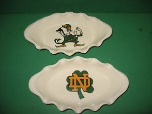 2 NOTRE DAME FIGHTING IRISH CERAMIC  FLUTED CANDY, SERVING DISHES MADE  IN  USA