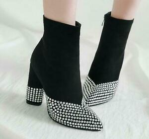 Ladies High heel shoes Rhinestones Pointy toe Side zip Suede Casual Ankle boots